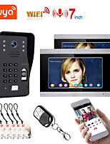 cheap -TUYA Video Intercom WIFI RFID  Fingerprint  Video Door Phone System Home  Intercom with 2 Monitor 7 Inch Support Remote APP Unlocking
