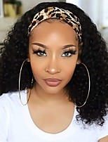 cheap -Human Hair Wig Long Kinky Curly With Headband Natural Best Quality New Arrival Fashion Capless Peruvian Hair Women's Natural Black #1B 12 inch 14 inch 16 inch Daily Evening Party Birthday