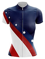 cheap -21Grams Women's Short Sleeve Cycling Jersey Summer Spandex Polyester White Stars Bike Jersey Top Mountain Bike MTB Road Bike Cycling Quick Dry Moisture Wicking Breathable Sports Clothing Apparel