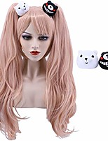cheap -cfalaicos pink ponytail cosplay wig with hair clips long wavy wigs synthetic wig for women