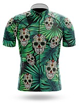 cheap -21Grams Men's Short Sleeve Cycling Jersey Summer Spandex Polyester Green Sugar Skull Skull Tropical Flowers Bike Jersey Top Mountain Bike MTB Road Bike Cycling Quick Dry Moisture Wicking Breathable