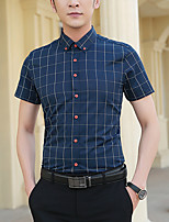 cheap -Men's Shirt non-printing Lattice Short Sleeve Casual Tops Basic Casual White Wine Royal Blue