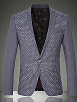 cheap -Men's Wedding Suits Slim Notch Standard Fit Single Breasted One-button Patch Pocket Round Dots Polyester