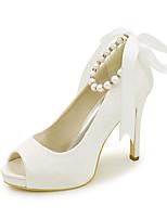 cheap -Women's Wedding Shoes Stiletto Heel Peep Toe Satin Imitation Pearl Ribbon Tie Solid Colored White Black Purple