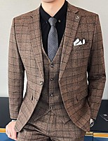 cheap -Men's Wedding Suits Notch Standard Fit Single Breasted Two-buttons Plaid / Check Polyester