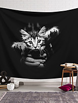 cheap -Wall Tapestry Art Decor Blanket Curtain Hanging Home Bedroom Living Room Decoration Polyester Black and White Hand Holding Cat
