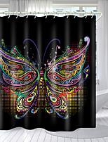 cheap -Colorful Butterflies on Black Digital Printing Shower Curtain Shower Curtains  Hooks Modern Polyester New Design