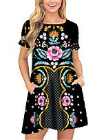 cheap -Women's T Shirt Dress Tee Dress Short Mini Dress Black Short Sleeve Floral Print Pocket Print Spring Summer Round Neck Casual 2021 S M L XL XXL 3XL