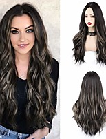 cheap -C175 Long Curly Wig 55 cm Middle Parting Womens Wigs Natural Synthetic Wigs Womens Curly Wavy Wig Party Cosplay Halloween WQ04