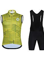 cheap -CAWANFLY Men's Sleeveless Cycling Jersey with Bib Shorts Cycling Jersey with Shorts Cycling Bib Shorts Spandex Black / Yellow Stripes Bike Sports Stripes Mountain Bike MTB Road Bike Cycling Clothing