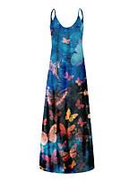 preiswerte -Damen Trägerkleid Maxikleid Blume 1 Blume 2 Blume 3 Ärmellos Volltonfarbe Sommer Lässig / Alltäglich 2021 S M L XL XXL