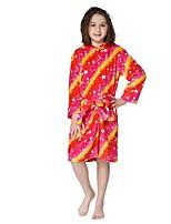 cheap -Kid's Kigurumi Pajamas Cartoon Onesie Pajamas Flannel Fabric Red Cosplay For Boys and Girls Animal Sleepwear Cartoon Festival / Holiday Costumes / Waist Belt