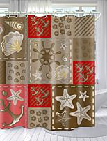 cheap -Simple Ocean Elements Digital Printing Shower Curtain Shower Curtains Hooks Modern Polyester New Design