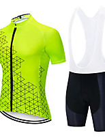 cheap -Men's Short Sleeve Cycling Jersey with Shorts Summer Spandex White Black Green Bike Quick Dry Breathable Sports Geometric Mountain Bike MTB Road Bike Cycling Clothing Apparel / Stretchy / Athletic