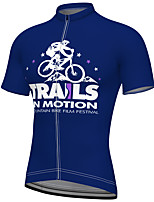 cheap -21Grams Men's Short Sleeve Cycling Jersey Summer Spandex Blue Bike Top Mountain Bike MTB Road Bike Cycling Quick Dry Breathable Sports Clothing Apparel / Athleisure