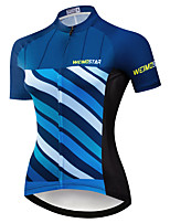 cheap -21Grams Women's Short Sleeve Cycling Jersey Summer Spandex Polyester Black / Blue Bike Jersey Top Mountain Bike MTB Road Bike Cycling Quick Dry Moisture Wicking Breathable Sports Clothing Apparel