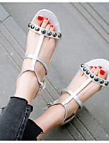cheap -Women's Sandals Flat Heel Round Toe PU Synthetics Black Silver