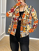 cheap -women's retro literary print knit sweater coat women's autumn new loose large size was thin western style wild v-neck cardigan