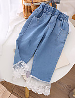 cheap -Kids Girls' Jeans Blue Solid Colored Lace Trims Blue Basic 2-8 Years