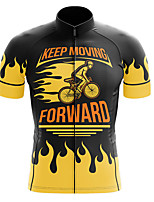 cheap -21Grams Men's Short Sleeve Cycling Jersey Summer Spandex Polyester Black / Yellow Bike Jersey Top Mountain Bike MTB Road Bike Cycling Quick Dry Moisture Wicking Breathable Sports Clothing Apparel