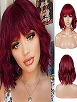 cheap -righton short curly bob wig with bangs for women full head short wavy wigs for party and daily wear wig cap included (wine red)