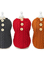 cheap -Dog Cat Sweater Solid Colored Adorable Cute Dailywear Casual / Daily Winter Dog Clothes Puppy Clothes Dog Outfits Warm Red Brown Gray Costume for Girl and Boy Dog Padded Fabric S M L XL XXL