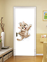 cheap -2pcs Self-adhesive Creative Stimulated Cat Door Stickers For Living Room Diy Decorative Home Waterproof Wall Stickers
