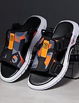 cheap -Men's Sandals Beach Daily PU Elastic Fabric Breathable Non-slipping Wear Proof Black / Yellow Orange / Black Black+Gray Summer