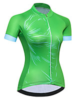 cheap -21Grams Women's Short Sleeve Cycling Jersey Summer Spandex Polyester Green Bike Jersey Top Mountain Bike MTB Road Bike Cycling Quick Dry Moisture Wicking Breathable Sports Clothing Apparel / Stretchy