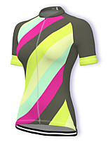 cheap -21Grams Women's Short Sleeve Cycling Jersey Summer Spandex Polyester Yellow Rainbow Bike Jersey Top Mountain Bike MTB Road Bike Cycling Quick Dry Moisture Wicking Breathable Sports Clothing Apparel