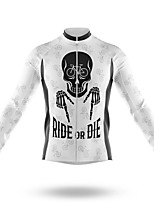 cheap -21Grams Men's Long Sleeve Cycling Jersey Spandex Polyester White Sugar Skull Skull Bike Jersey Top Mountain Bike MTB Road Bike Cycling Quick Dry Moisture Wicking Breathable Sports Clothing Apparel