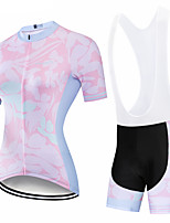 cheap -CAWANFLY Women's Short Sleeve Cycling Padded Shorts Cycling Jersey with Bib Shorts Cycling Jersey with Shorts Summer Spandex Pink Bike Shorts Breathable Sports Graphic Mountain Bike MTB Road Bike