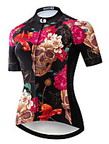 cheap -21Grams Women's Short Sleeve Cycling Jersey Summer Spandex Polyester Black / Red Sugar Skull Skull Bike Jersey Top Mountain Bike MTB Road Bike Cycling Quick Dry Moisture Wicking Breathable Sports