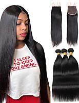 cheap -Brazilian Straight 3Bundles With Lace Closure Remy Human Hair Weave Bundle Deals With 4x4 Lace Part Closure