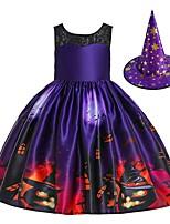 cheap -Pumpkin Dress Cosplay Costume Kid's Girls' Cute Halloween Festival Christmas Halloween Festival / Holiday Terylene Elastane Purple / Blue Easy Carnival Costumes Pumpkin / Hat