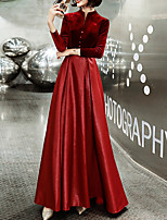 cheap -A-Line Minimalist Elegant Engagement Formal Evening Dress High Neck Long Sleeve Floor Length Satin Velvet with Sash / Ribbon Buttons 2021