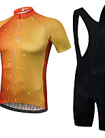 cheap -21Grams Men's Short Sleeve Cycling Jersey with Bib Shorts Summer Spandex Polyester Red / Yellow Gradient Bike Clothing Suit 3D Pad Quick Dry Moisture Wicking Breathable Reflective Strips Sports