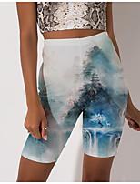 cheap -Women's Stylish Athleisure Breathable Soft Beach Fitness Biker Shorts Pants Graphic Prints Landscape Knee Length Print Blue