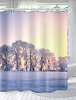cheap -Gourd Flowers Digital Printing Shower Curtain Shower Curtains  Hooks Modern Polyester New Design 72 Inch