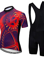 cheap -21Grams Men's Short Sleeve Cycling Jersey with Bib Shorts Summer Spandex Polyester Fuchsia Gear Bike Clothing Suit 3D Pad Quick Dry Moisture Wicking Breathable Reflective Strips Sports Gear Mountain