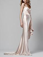cheap -Sheath / Column Minimalist Elegant Engagement Formal Evening Dress Strapless Sleeveless Sweep / Brush Train Italy Satin with Draping 2021