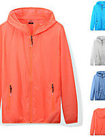 cheap -Men's Hoodie Jacket Hiking Skin Jacket Hiking Windbreaker Summer Outdoor Solid Color UV Sun Protection Ventilation Quick Dry Front Zipper Outerwear Coat Top Full Length Visible Zipper Climbing