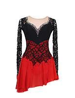 cheap -Figure Skating Dress Women's Girls' Ice Skating Dress Black / Red Black / Blue Patchwork Asymmetric Hem Spandex High Elasticity Competition Skating Wear Crystal / Rhinestone Long Sleeve Ice Skating