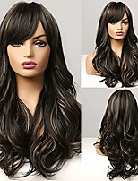 cheap -emmor natural black wig for women with highlight, natural hair synthetic curly wigs with bang, party daily use (color 4h22#)