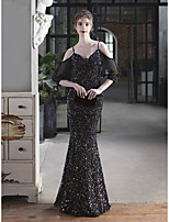 cheap -Mermaid / Trumpet Sexy Wedding Guest Formal Evening Dress V Neck Half Sleeve Floor Length Stretch Satin Sequined with Sequin 2021