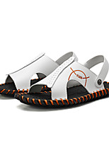 cheap -Men's Sandals Casual Daily Nappa Leather Breathable Non-slipping Wear Proof White Black Summer