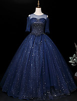 cheap -Ball Gown Sparkle Elegant Quinceanera Prom Dress Illusion Neck Half Sleeve Floor Length Tulle with Sequin 2021