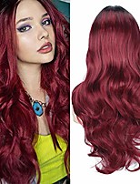 cheap -colorfulpanda ombre wine red wigs for women with black roots long wig natural wavy curly synthetic wig cosplay party or everyday wear