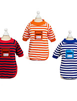 cheap -Dog Cat Shirt / T-Shirt Stripes Adorable Cute Dailywear Casual / Daily Dog Clothes Puppy Clothes Dog Outfits Breathable Red Blue Orange Costume for Girl and Boy Dog Padded Fabric S M L XL XXL
