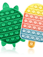 cheap -2PCS Push Pop Bubble Fidget Sensory Toy, Autism Special Needs Silicone Stress Reliever Toy, Anti-Anxiety Squeeze Sensory Toy for Kids (Turtle+Icecream)